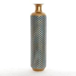 Aranyozott fém padló váza türkiz dekorral