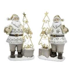 Télapó figura világító karácsonyfával
