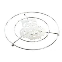Fém krómozott tányér edény alátét bagoly mintával 20x2cm