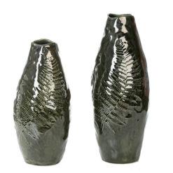 Zöld színű mázas kerámia váza levél mintával 37x15cm Fern