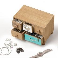Bársonnyal bélelt 5 fiókos fából készült ékszertartó doboz 18x25x16