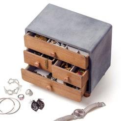 Bársonnyal bélelt 4 fiókos Loft stílusú fából készült ékszertartó doboz 23x25x16