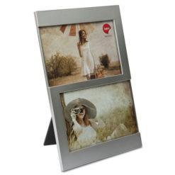 Ezüst színű asztali fényképtartó 2db 10x15-ós fotó számára Dijon