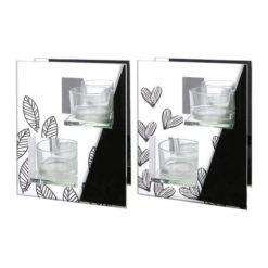 Ezüst színű üveg mécsestartó 2 részes