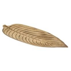 Óriási antik hatású fa levél formájó kínáló tál fából