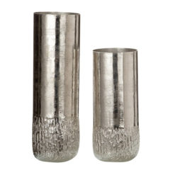 Ezüst színű strukturált felületű alumínium váza 29cm Rudo