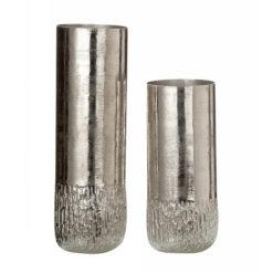 Ezüst színű strukturált felületű alumínium váza 23cm Rudo