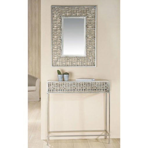 Ezüst színű fém design asztal 24x80x80cm és tükör 60x80x1
