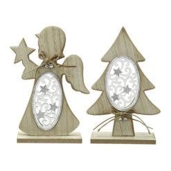 Fa asztali szobor angyalka és fenyő