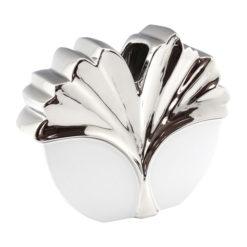 Fehér és ezüst színű virág mintás kerámia váza 16cm Siara