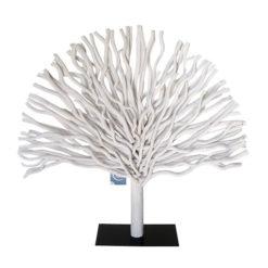 Óriási fehér színű fa dekoráció fém talpon 70cm