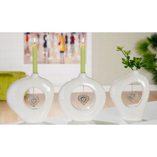 Fehér kerámia váza gyertyatartó szívvel 23