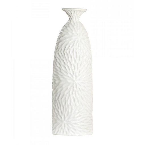 Fehér színű kerámia váza nyomott mintával 34cm Dahlia