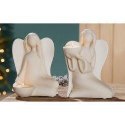 Fehér és krém színű kerámia angyalka szobor mécsestartó 17x22x11cm