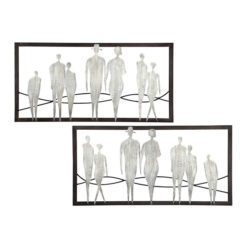 Hatalmas fekete fém fali dekoráció ezüst emberekkel 80x40cm People
