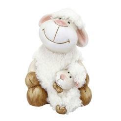 Krém színű gyapjas kerámia bárány szobor a kicsinyével 11
