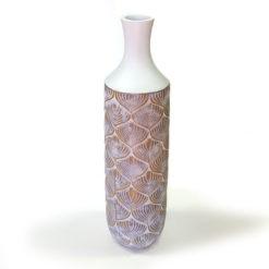 Fehér műgyanta váza levél mintával