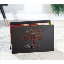 Matt fekete fém újságtartó fa mintával 30x20x10cm Tree of Life