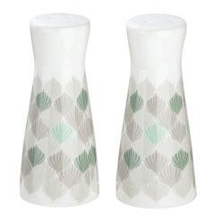 Krém színű porcelán só és bors szóró türkizkék