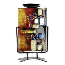 Színes üveg gyertyatartó 15x26cm Soleil