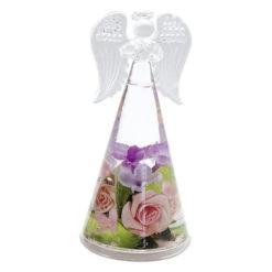 Üveg angyal szobor virágokkal 15